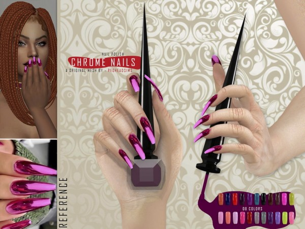 Red Head Sims: Glossy and Chrome nails