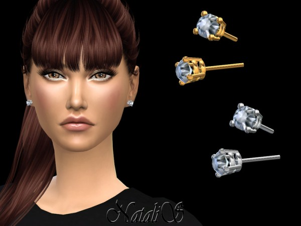 The Sims Resource: 4 prong basket stud earrings by NataliS
