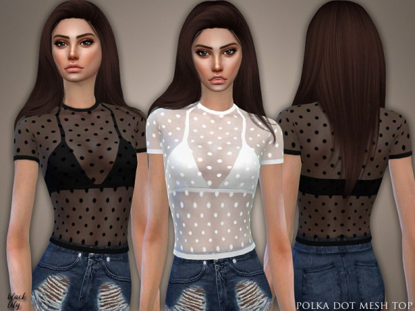 The Sims Resource: Polka Dot Mesh Top by Black Lily