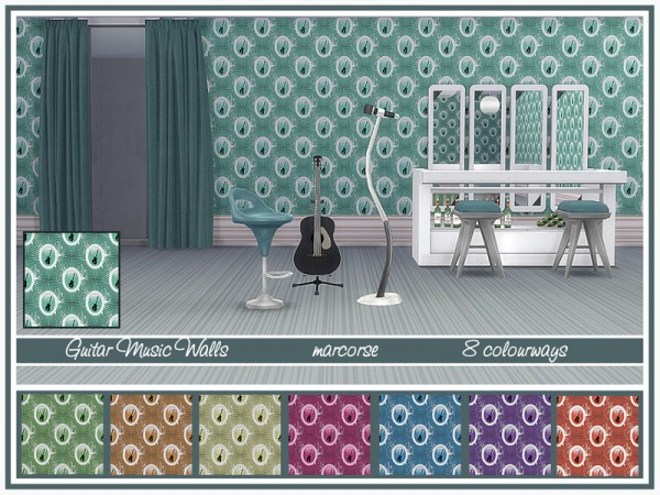 The Sims Resource: Guitar Music Walls by marcorse