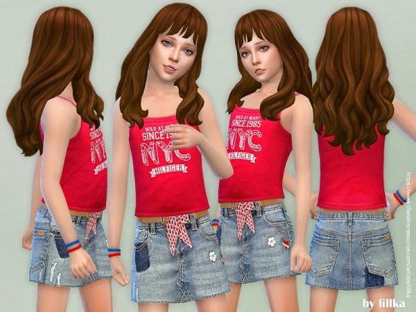 The Sims Resource: Denim Skirt for Girls by lillka