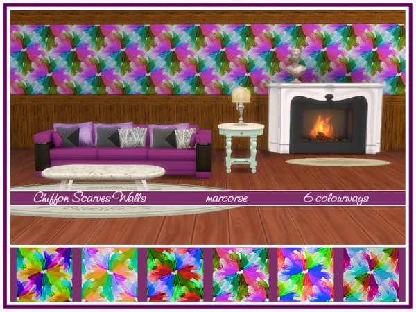 The Sims Resource: Chiffon Scarves Walls by marcorse
