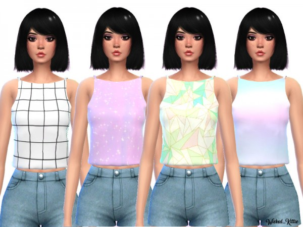 The Sims Resource: Pastel Tank Tops by Wicked Kittie
