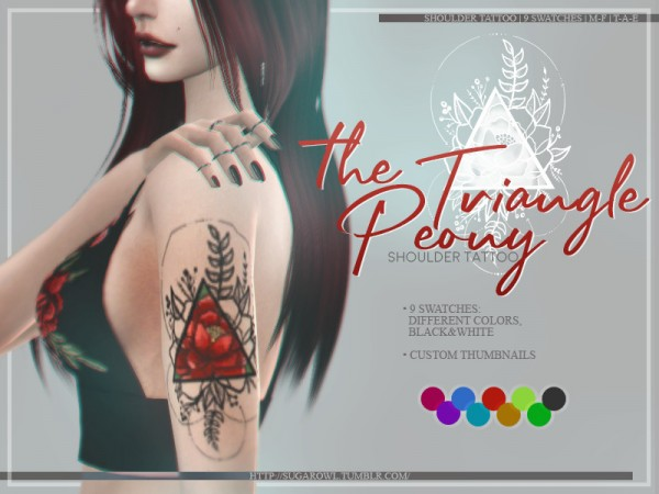 The Sims Resource: The Triangle Peony tattoo by sugar owl