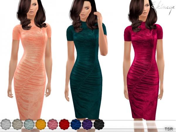 The Sims Resource: Gathered Velvet Midi Dress by ekinege