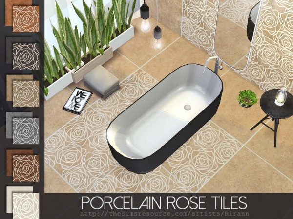 The Sims Resource: Porcelain Rose Tiles by Rirann