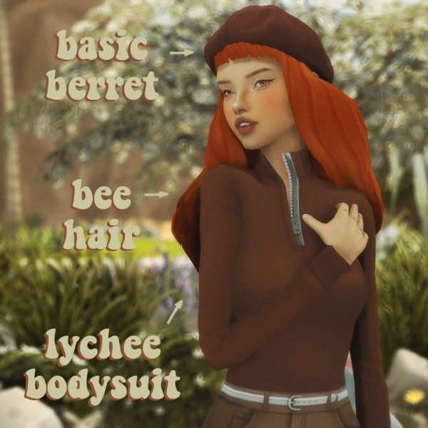 Cowplant Pizza: Bodysuit, basic beret and bee hair