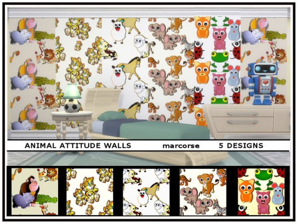 The Sims Resource: Animal Attitude Walls by marcorse