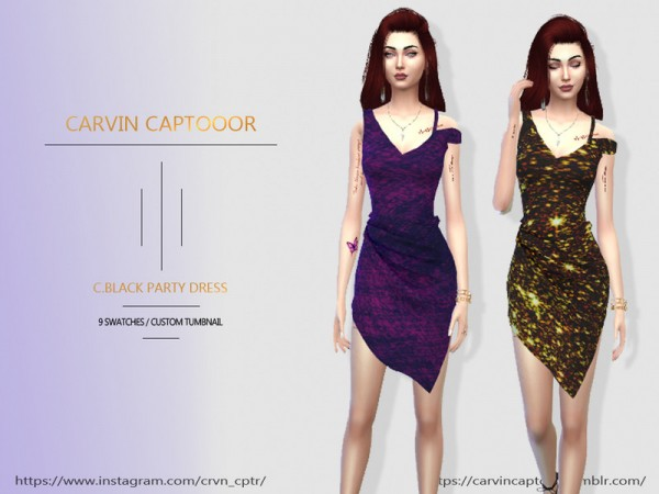 The Sims Resource: Black Party Dress by carvin captoor