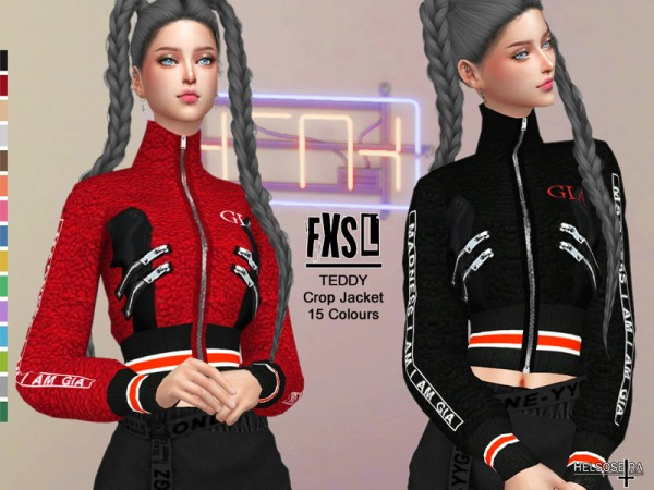 The Sims Resource: FXSL   Teddy Crop Jacket by Helsoseira