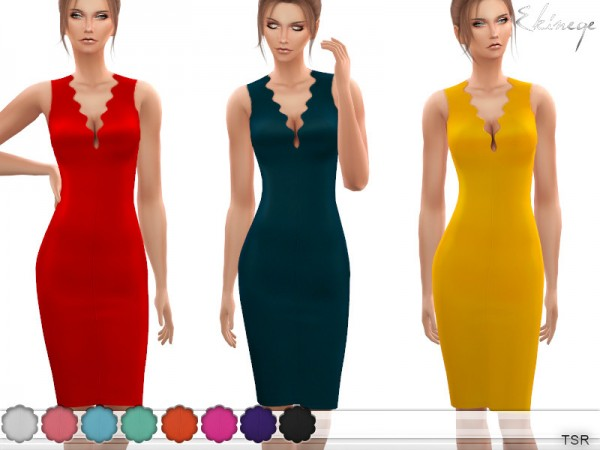 The Sims Resource: Wave Neck Midi Dress by ekinege