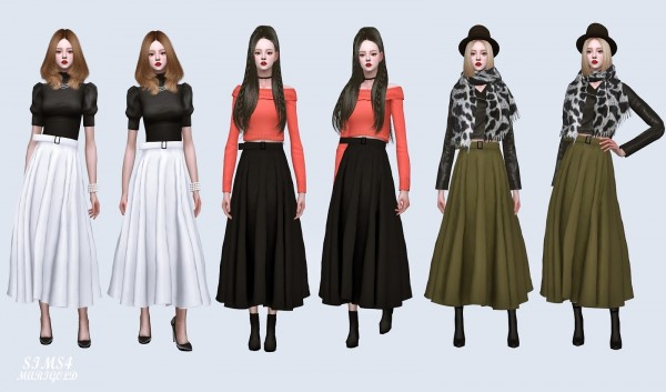 SIMS4 Marigold: Long Flare Skirt With Belt