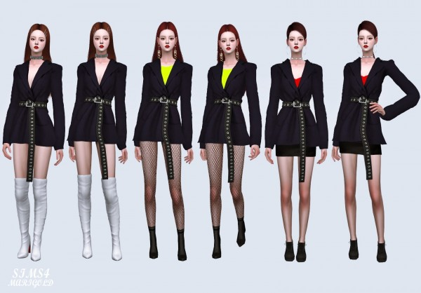 SIMS4 Marigold: Oversized Blazer With Long Belt