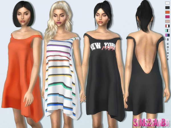 The Sims Resource: Bare Shoulder Dress 369 by sims2fanbg