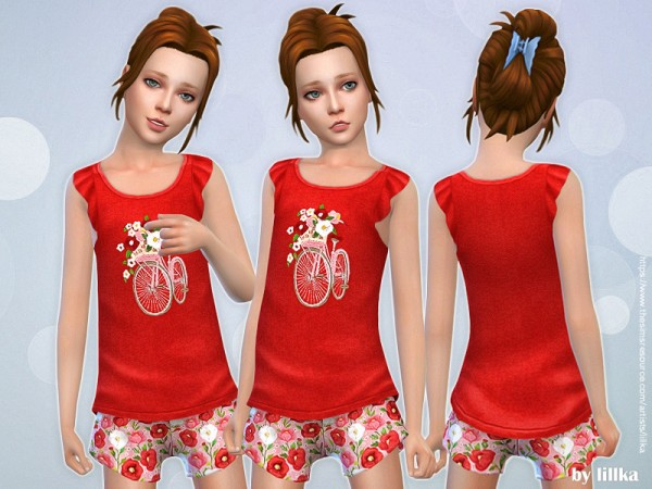 The Sims Resource: Graphic Top and Shorts by lillka
