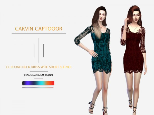 The Sims Resource: Round neck dress with short sleeves by carvin captoor