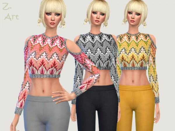 The Sims Resource: Trendy sweater with cut out shoulders by Zuckerschnute20
