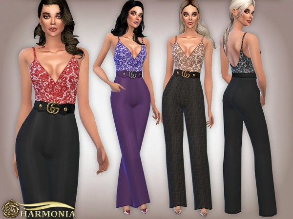 The Sims Resource: Lace Wide Leg Jumpsuit by Harmonia