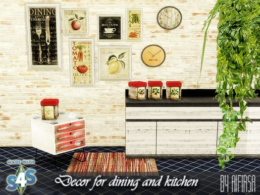 Aifirsa Sims: Decor for dining and kitchen