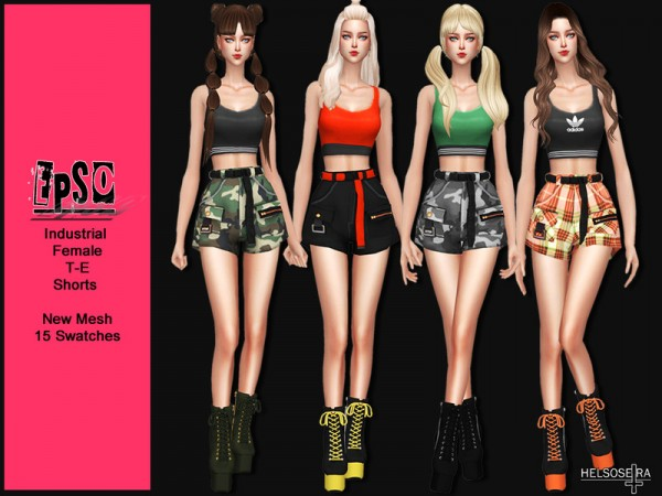 The Sims Resource: EPSO   Industrial Shorts by Helsoseira