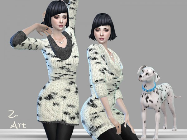 The Sims Resource: Cuddly knit dress by Zuckerschnute20