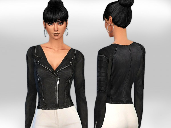 The Sims Resource: Realistic Fit Black Leather Jacket  by Saliwa