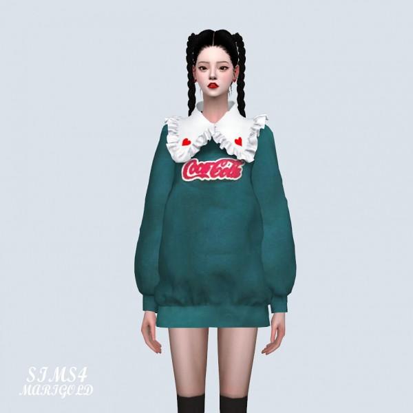 SIMS4 Marigold: Frill Collar Long Sweatshirt