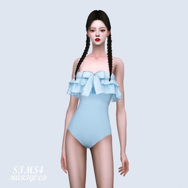 SIMS4 Marigold: Bow Frill Swimsuit