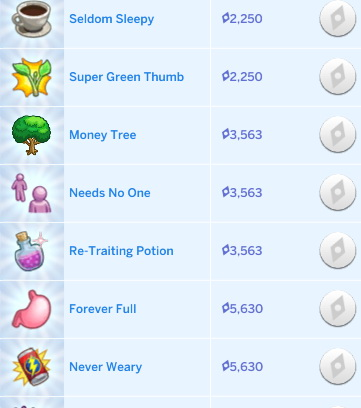 Mod The Sims: Cheaper Aspiration Rewards V3 by Bombbery