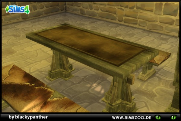 Blackys Sims 4 Zoo: Medival Tavern Set Table by blackypanther