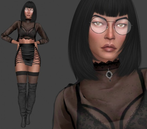 Annett`s Sims 4 Welt: Thats me too! EXPERIMENT   Hat, Dress and glasses