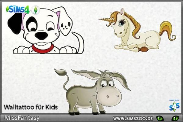 Blackys Sims 4 Zoo: Wall tattoo Kids 1 by MissFantasy