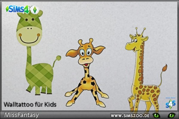 Blackys Sims 4 Zoo: Wall tattoo Kids 2 by MissFantasy