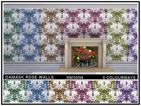 The Sims Resource: Damask Rose Walls by marcorse