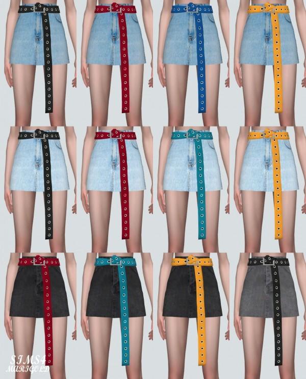 SIMS4 Marigold: Long Belt Mini Skirt
