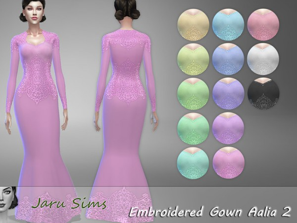 The Sims Resource: Embroidered Gown Aalia 2 by Jaru Sims