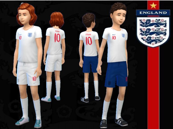 The Sims Resource: England Football Kit for Kids by RJG811