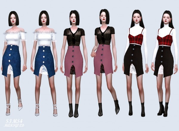 SIMS4 Marigold: Button Open Skirt With Lace