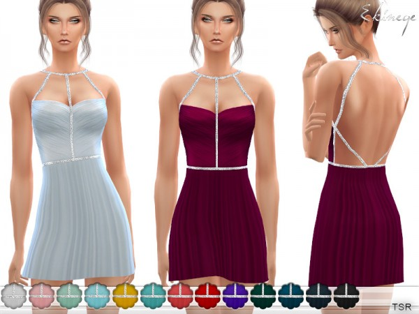 The Sims Resource: Short Sweetheart Open Back Dress by ekinege