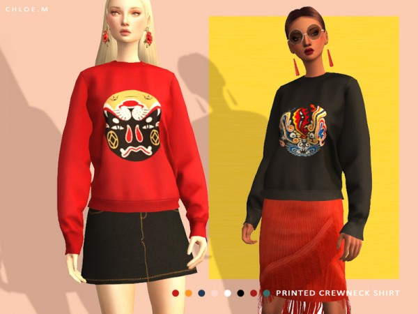 The Sims Resource: Printed Crewneck Shirt by ChloeMMM