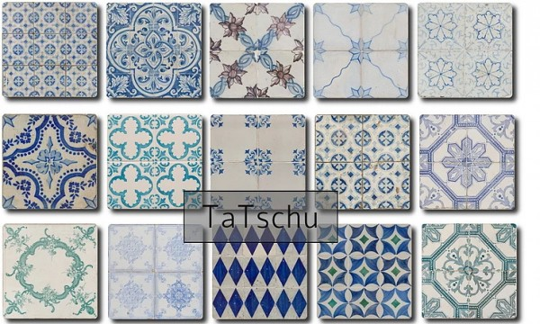 Blooming Rosy: Ornate Floor Tiles Part3 Azuregro Blue