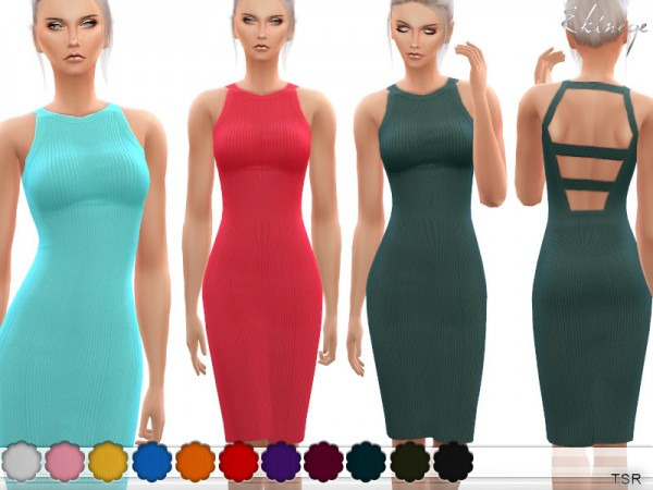 The Sims Resource: Knit Dress With Cut Out Back by ekinege