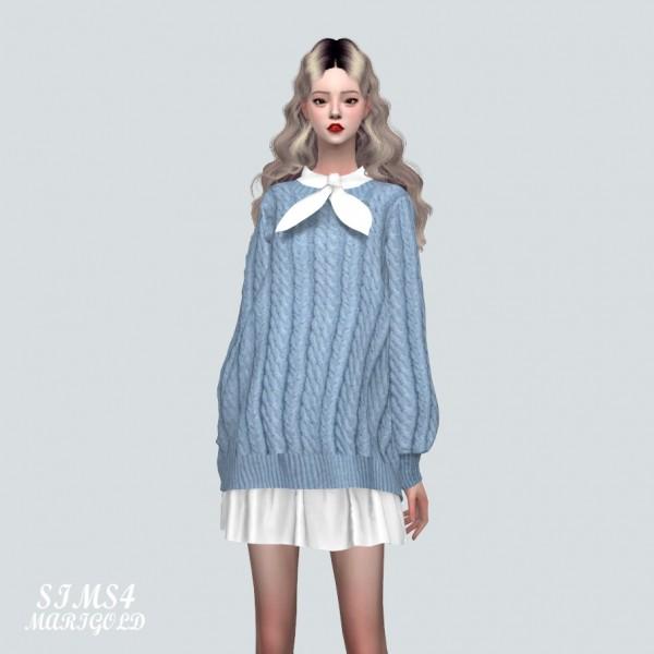 SIMS4 Marigold: Bow Long Sweater Dress