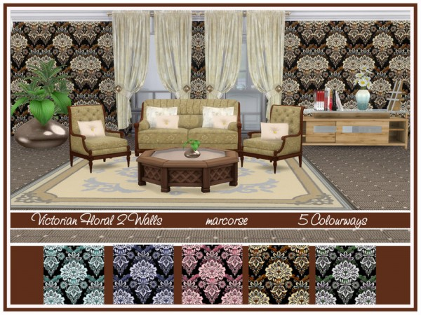 The Sims Resource: Victorian Floral 2 Walls by marcorse