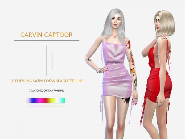 The Sims Resource: Drewing Satin Dress Spaghetti line by carvin captoor