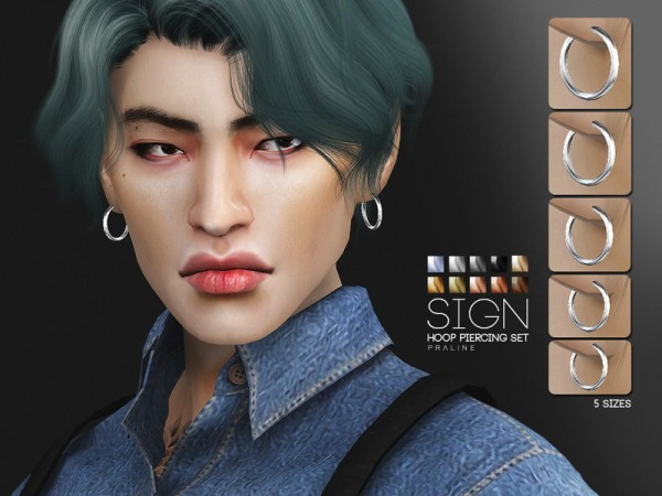 The Sims Resource: Sign Hoop Piercing Set by Pralinesims