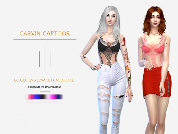 The Sims Resource: Alluring Low Cut Caged Lace Spaghetti strap by carvin captoor