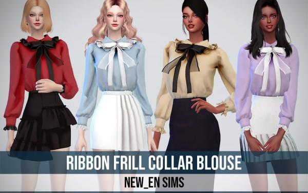 Newen: Ribbon Frill Collar Blouse