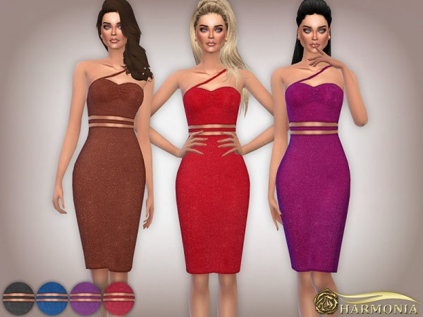 The Sims Resource: Textured Glitter Cut Out Midi Dress by Harmonia