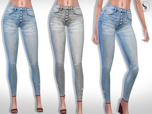 The Sims Resource Front Button Skinny High Jeans By